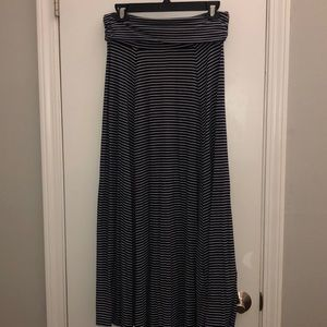Gap Navy & white stripe maxi, fold over skirt